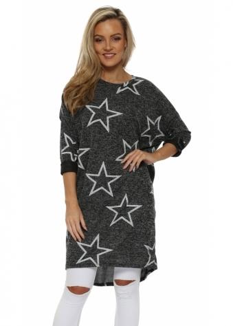 Grey Marl Star Print Long Sweater