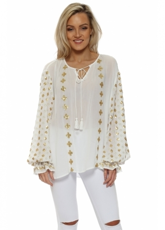 Gold Club & Diamond Sequinned White Top