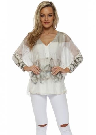 Mocha & White Silk Paint Splash Top