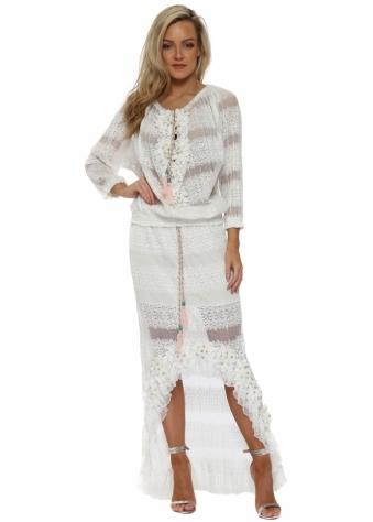 White Floral Diamante Maxi Skirt & Top