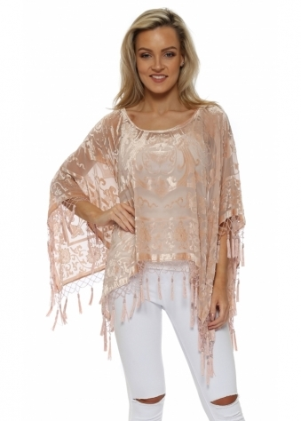Blush Pink Silk Devore Beaded Tassel Poncho