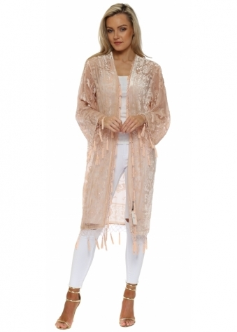 Blush Pink Silk Devore Long Beaded Tassel Kimono