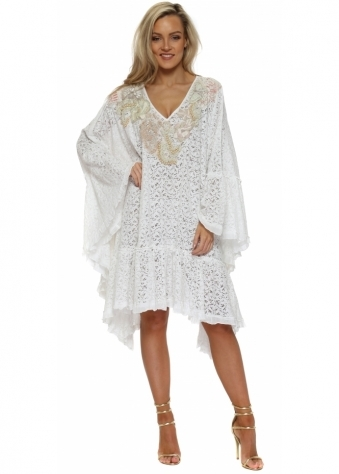 White Lace Pearl Embellished Kaftan Dress