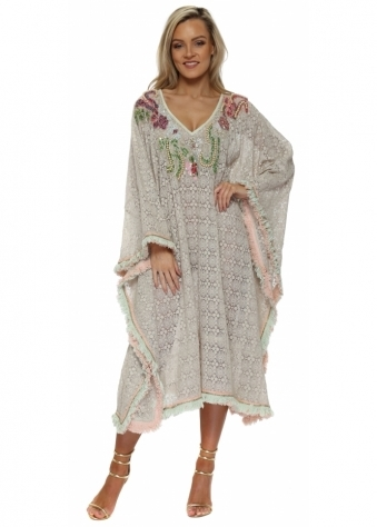 Beige Lace Embellished Neckline Kaftan Dress