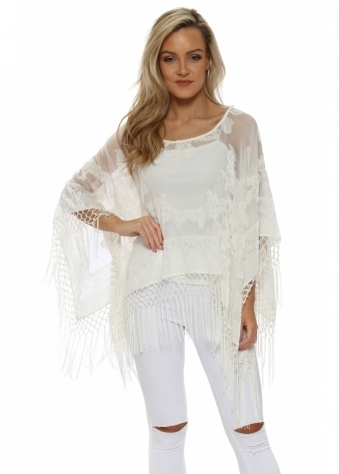 Cream Silk Devore Tassel Poncho
