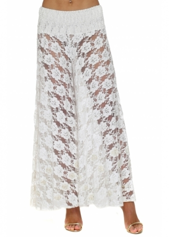 White Lace Pearl Embellished Palazzo Culottes