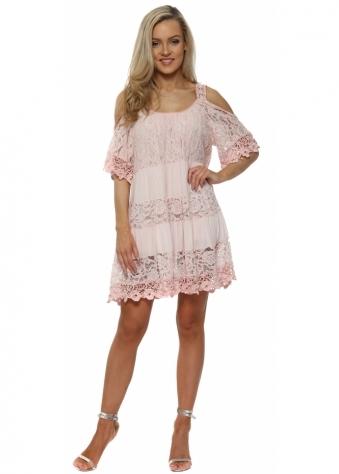 Pink Lace Cold Shoulder Summer Dress