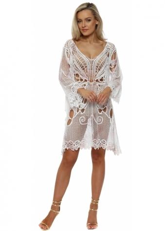 Pink & White Crochet Butterfly Beach Dress