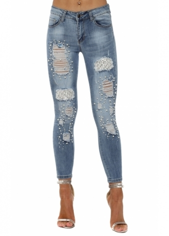 Lace Diamante & Pearl Distressed Skinny Jeans