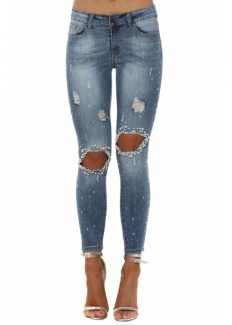 Diamante & Pearl Ripped Knee Skinny Jeans