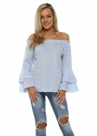 Blue Stripe Waterfall Frill Sleeve Bardot Shirt