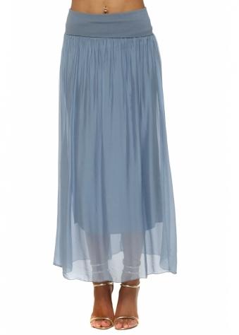 Blue Silk Maxi Skirt With Deep Bandeau Waist