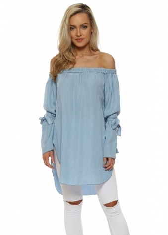 Denim Blue Off The Shoulder Tie Cuff Top