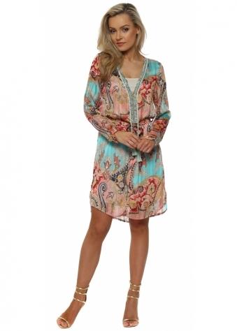Aqua & Coral Paisley Print Crystal Neckline Dress