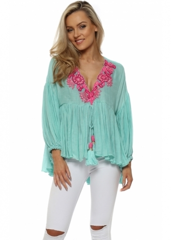 Aqua Ruffle Blouse With Hot Pink Beads & Jewels