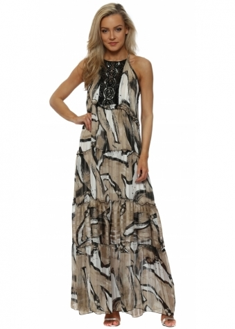Black & Taupe Abstract Print Halterneck Maxi Dress