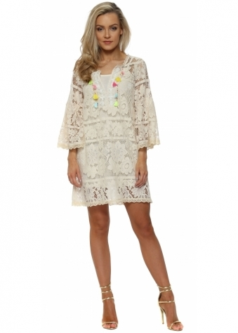 Beige Lace Multi Tassle Shift Dress
