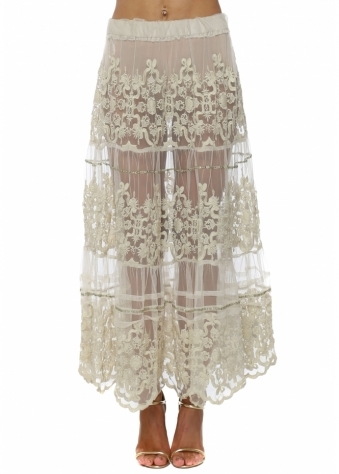 Beige Sheer Lace Sequin Embellished Maxi Skirt
