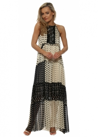 Black & Cream Polka Dot Halterneck Maxi Dress