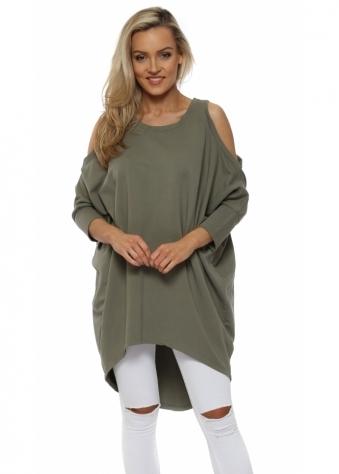 Khaki Cold Shoulder Long Cotton Sweatshirt