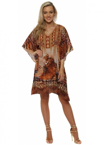 Brown Tiger Print Sultan Crystal Kaftan