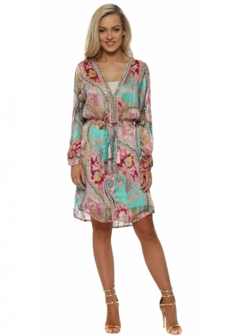 Green & Pink Paisley Print Crystal Neckline Dress