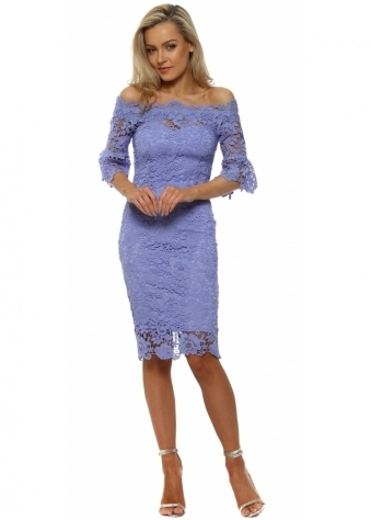 Blue Crochet Lace Bardot Pencil Dress