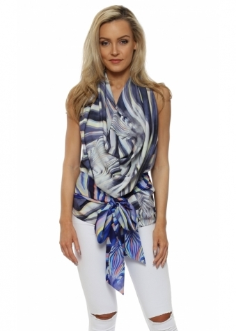 Lucy Drape Tie Back Halterneck Top In Zebra Dreams Print