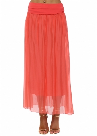 Coral Silk Maxi Skirt With Deep Bandeau Waist