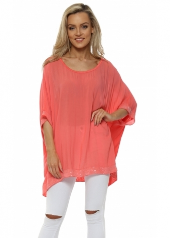 Coral Sequinned Oversized Slouch Top