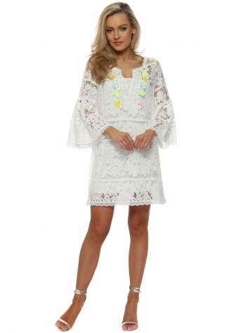 White Lace Multi Tassle Shift Dress