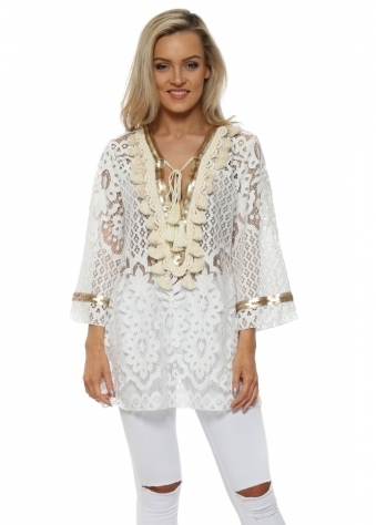 White Lace Tunic Kaftan With Gold Embellishment