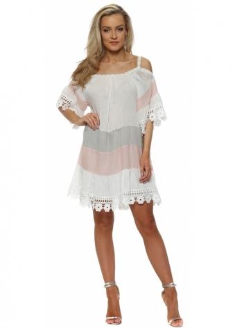 White & Pink Colour Block Summer Dress