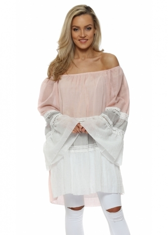 Pink & White Colour Block Off The Shoulder Top