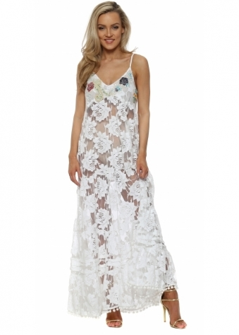 White Lace Pearl & Sequin Bodice Maxi Dress