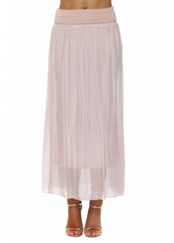 Baby Pink Silk Maxi Skirt With Deep Bandeau Waist