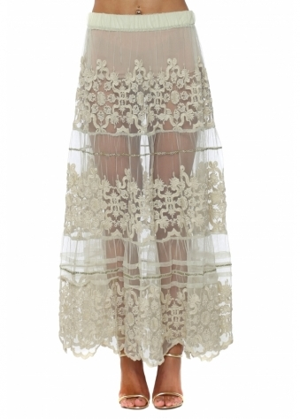 Mint Sheer Lace Sequin Embellished Maxi Skirt