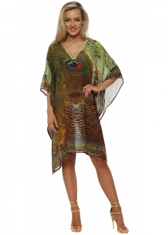 Green Peacock Feather Crystal Kaftan