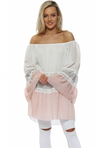 White & Pink Colour Block Off The Shoulder Top