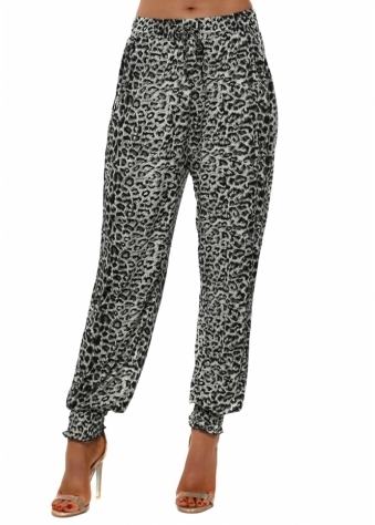 Grey Leopard Print Harem Trousers