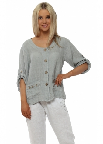 Grey Linen Cropped Jacket Style Top