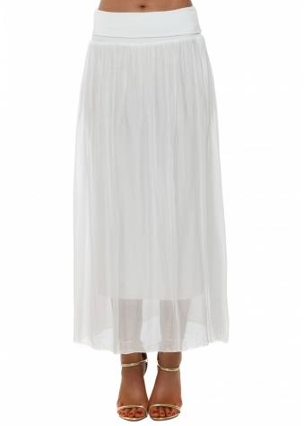 White Silk Maxi Skirt With Deep Bandeau Waist