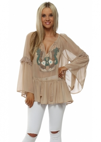 Nude Beaded Neckline Floaty Chiffon Top
