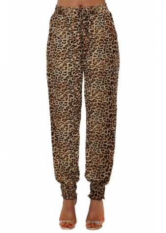 Brown Leopard Print Harem Trousers