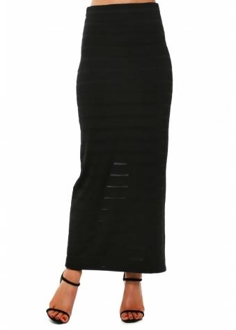 Black Shadow Mesh Stripe Maxi Skirt