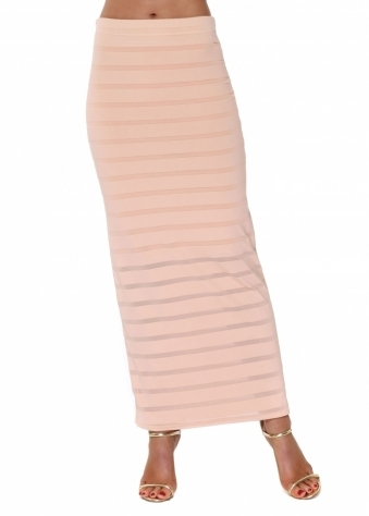 Seduction Shadow Mesh Stripe Maxi Skirt