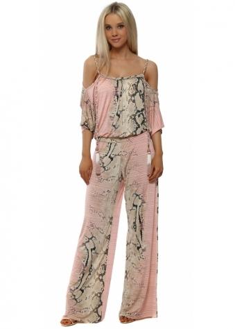 Pink Snake Print Cold Shoulder Jumpsuit