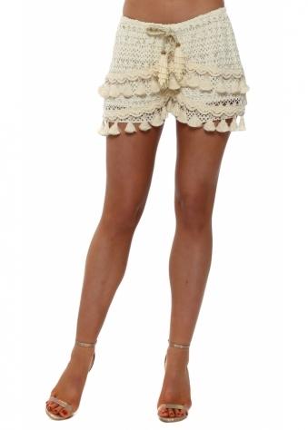 Cream Crochet Tassle Shorts