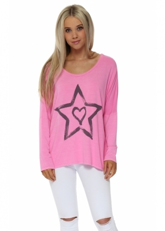 Zippy Starry Heart Sweater In Passionata