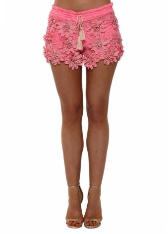 Hot Pink Floral Diamante Shorts